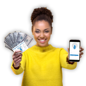 woman in yellow sweater holding the VictimsVoice app and cash