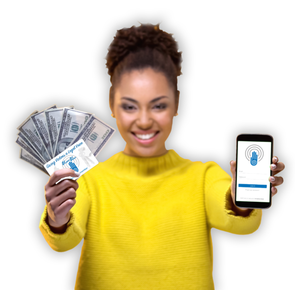 Woman in yellow sweater holding the victimsVoice app, an activation code, and cash